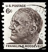 UNITED STATES - CIRCA 1966: stamp printed in United states (USA), image of portrait Franklin Roosevelt, with the same inscription, from the series
