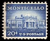USA - CIRCA 1956: A Stamp printed in USA shows Monticello, the estate of Thomas Jefferson, 200th Ann
