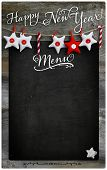 Happy New Year  Restaurant Menu Wooden Blackboard Copy Space