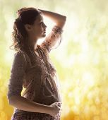 family, motherhood and pregnancy concept - silhouette backlight picture of pregnant beautiful woman