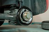image of rear-end  - Checking the rear brake the car in the workshop - JPG