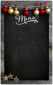 Christmas Restaurant Menu Wooden Blackboard Copy Space