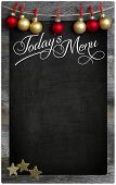 Merry Christmas Today`s Restaurant Menu Wooden Blackboard Copy Space