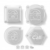 Business icon set. Hotline, old phone, push-button telephone. Glass buttons. Vector illustration. Ep