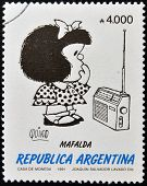 stamp shows Mafalda a comic strip written and drawn by Argentine cartoonist Quino