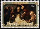 Stamp printed in Burundi shows The Deposition by Peter Paul Rubens