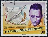 A stamp printed in Niger shows Nobel Prize in Literature Albert Camus