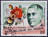 A stamp printed in Niger shows Nobel Prize in Literature Maurice Maeterlinck