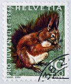 a stamp printed in Switzerland shows Red Squirrel Sciurus Vulgaris