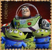 A stamp printed in USA showing an image of Toy Story 3 movie