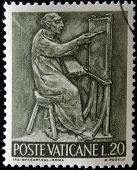 A stamp printed in Vatican shows Bas reliefs of arts and crafts painter