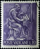 stamp printed in Vatican shows Bas reliefs of arts and crafts musician