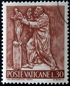 stamp printed in Vatican shows Bas reliefs of arts and crafts sculptor