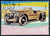 stamp printed in Guinea dedicated to vintage cars shows Talbot 105 London 1933
