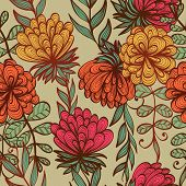 picture of purple rose  - Seamless hand drawn beige vintage floral pattern - JPG