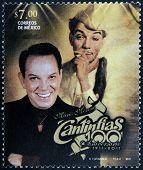 MEXICO - CIRCA 2011: A stamp printed in Mexico shows Mario Moreno Cantinflas circa 2011