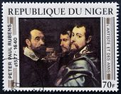 stamp printed in Niger shows draw by Peter Paul Rubens
