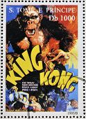 A stamp printed in Sao Tome shows movie poster King Kong