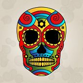 Sugar skull mexico, day of dead - Vector Illustration