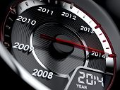 stock photo of countdown  - 3d illustration of 2014 year car speedometer - JPG