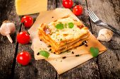 image of lasagna  - Homemade lasagna on the table - JPG