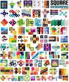 Big set of infographic modern templates - squares. Geometric shapes.  For banners, business backgrounds, presenations