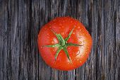 Organic Tomato With Water Droplets