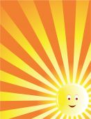 Yellow Sun Face Ray Background