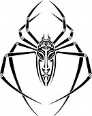 picture of creepy crawlies  - vector spider tattoo for back on white background - JPG