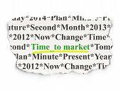 Timeline concept: Time to Market on Paper background