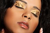 Close up on beautiful tiger make-up on eyes. Goldis-blakish eyeshadows.