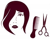 beauty woman face with comb and scissors
