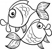 Zodiac Pisces Or Fish Coloring Page