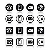 Contact iconsin circle and square set - mobile, phone, email, envelope