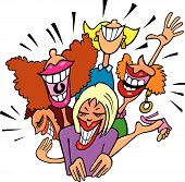 pic of snickers  - cartoon vector illustration of four woman laughing - JPG