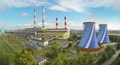 stock photo of chp  - Big territory of power plant at sunny day - JPG