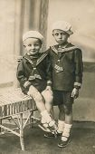 LUBLIN, POLAND, CIRCA 1920s - Vintage photo of two brothers in sailor outfits,  Lublin, Poland, circ