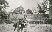 GANSERNDORF, AUSTRIA, CIRCA 1930s: Vintage photo of woman with young horse, Ganserndorf, Austria, circa 1930s