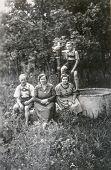 GANSERNDORF, AUSTRIA, CIRCA 1930s: Vintage photo of farmers family, Ganserndorf, Austria, circa 1930