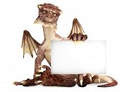 Fantasy dragon holding advertisement blank card