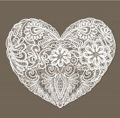 stock photo of doilies  - Heart shape is made of lace doily element for Valentines Day or Wedding design - JPG