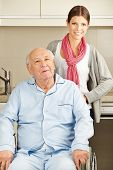 Extended home care for senior man in wheelchair