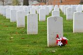 stock photo of arlington cemetery  - Headstones in Arlington National Cemetery near to Washington DC  - JPG