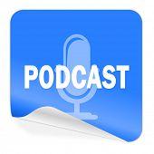 podcast blue sticker icon