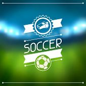 stock photo of arena  - Sports background with soccer stadium and labels - JPG