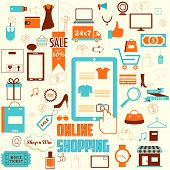 illustration of online shopping concept in retro flat style