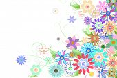 Digitally generated girly floral design on white