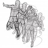 Vector illustration of handball players illustration on white background
