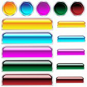 Web buttons shiny assorted colors and shapes