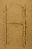 Alphabet letter written on wet beach sand